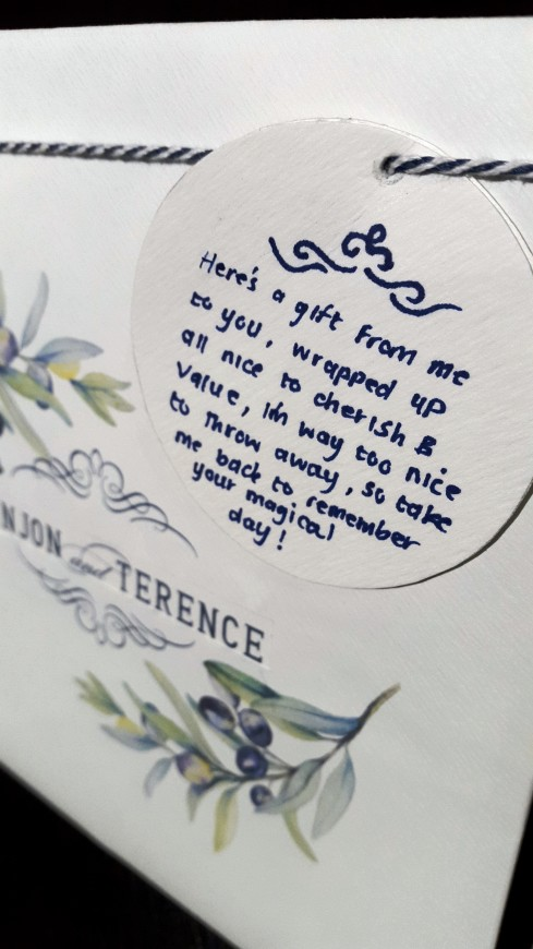 I came up with a little poem to let the Bride and Groom know the thought behind the Recycled Wedding Invite